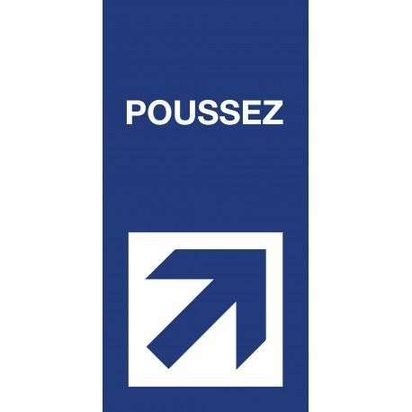 "Pictogramme ""Poussez"" Format vertical BLEU"