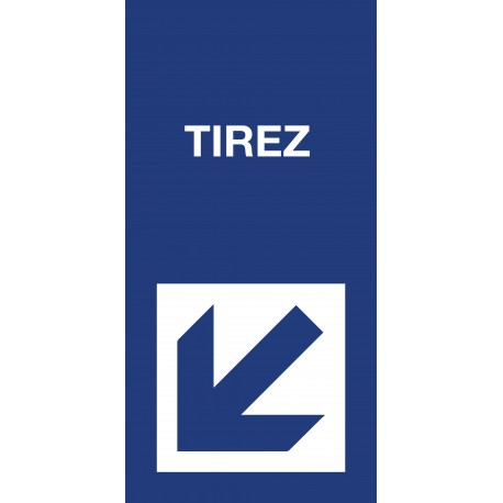 "Pictogramme ""Tirez"" Format vertical BLEU"