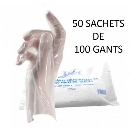 50 SACHETS DE 100 GANTS PE TRANSPARENTS TAILLE STANDARD