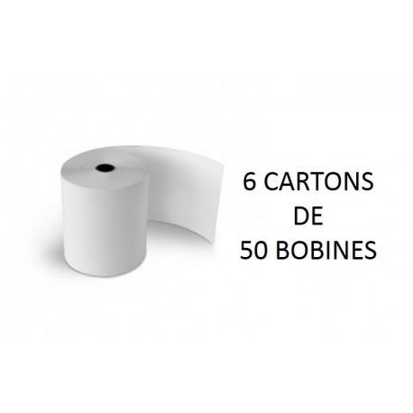 80x80x12 - 6 Cartons de 50 Rouleaux de caisse thermique - sans Bisphénol A