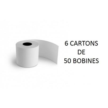 60x70x25 - 6 Cartons de 50 Rouleaux de caisse thermique - sans Bisphénol A