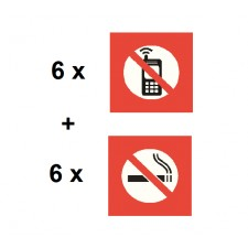 "Pack de 12 adhésifs : 6 x ""Interdiction de téléphoner"" + 6 x ""Interdiction de fumer"""