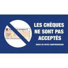"""Adhésif / Pictogramme """"Les chèques ne sont pas acceptés"""" BLEU"""