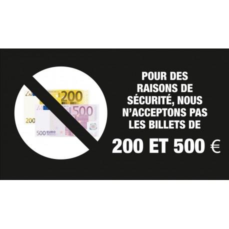 """Adhésif / Pictogramme """"Les billets de 200 et 500 euros ne sont pas acceptés"""" NOIR"""
