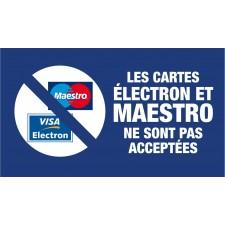 """Adhésif / Pictogramme """"Les cartes Electron et Maestro ne sont pas acceptées"""" BLEU"""