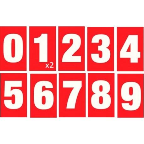Kit de numérotation des pompes - 1 à 10 - Rouge