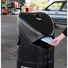 Poubelle avec distributeur de gants et d'essuie-mains + systéme coupe-feu