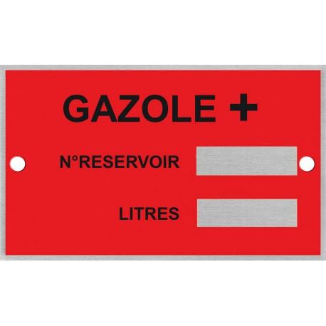 Plaque d'identification pour cuve gazole supérieur (GO+) + rivets de fixation