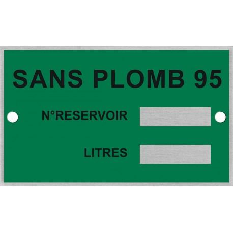Plaque d'identification pour cuve SP95 + rivets de fixation