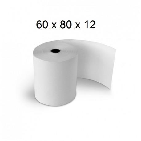 60x80x12 - Carton 50 Rouleaux de caisse thermiques - sans Bisphénol A