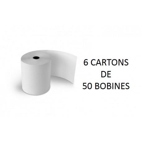 60x80x12 - 6 Cartons de 50 Rouleaux de caisse thermique - sans Bisphénol A